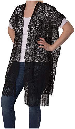 styleBREAKER Chaleco en óptica de Ganchillo en diseño de Flores con deshilachados, sin Cierre, Verano, señora 08010021, Color:Negro