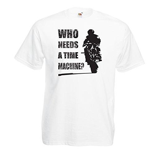 lepni.me T-Shirt da Uomo Abbigliamento Moto (Large Bianco Multicolore)