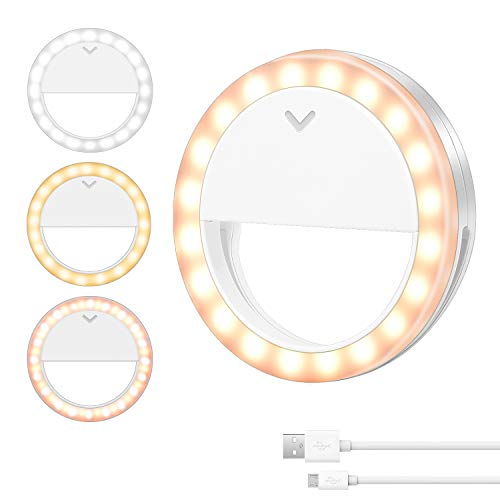 Selfie Ring Light,600mAh Rechargeable Circle Light with 4 Modes Clip on Ring Light for Phone Computer Video Conferencing Video Recording Photography Makeup Laptop