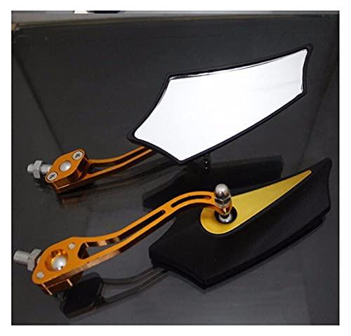 QWERASD Espejo retrovisor de Motocicleta Espejos Retrovisores De Motocicleta Roscas De 8 Mm Aptos para H-o-n-d-a para Su-zuki Espejos Retrovisores De Motocicleta Espejos Laterales (Color : Gold)