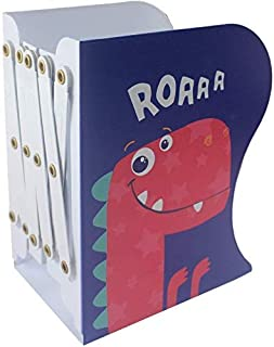 Rangwell Metal Dinosaur Pattern Bookends Non-Skid Heavy Duty Book Holder Stand Hold Books,Magazines,Cookbooks (Blue-red)
