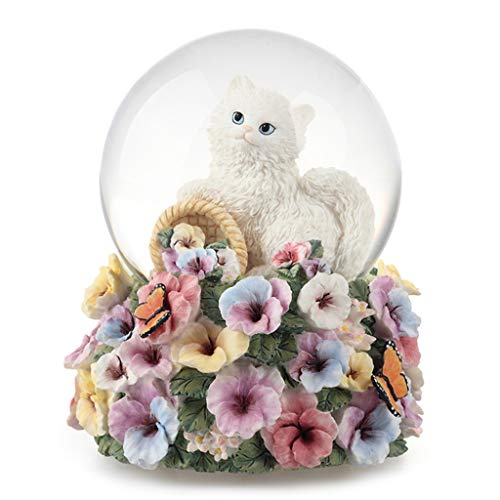 jinyi2016SHOP Music Case White Cat and Flower Model Music Box,Lifelike,Cute Ornament,Home Decor,Crystal Ball Rotating Music Box,Romantic Gift for Lover Musical Box (Color : Unforgetable)