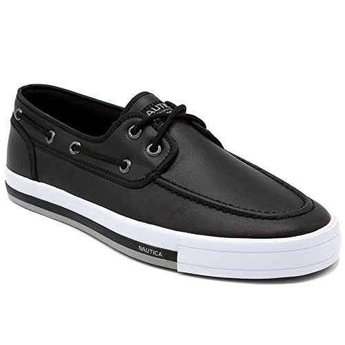 Nautica Men's Spinnaker Lace-Up Boat Shoe, Casual Loafer, Fashion Sneaker-Black Smooth-9