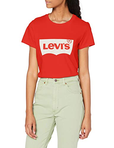 Levi\'s Damen The Perfect Tee T-Shirt, Batwing Poppy Red, Large