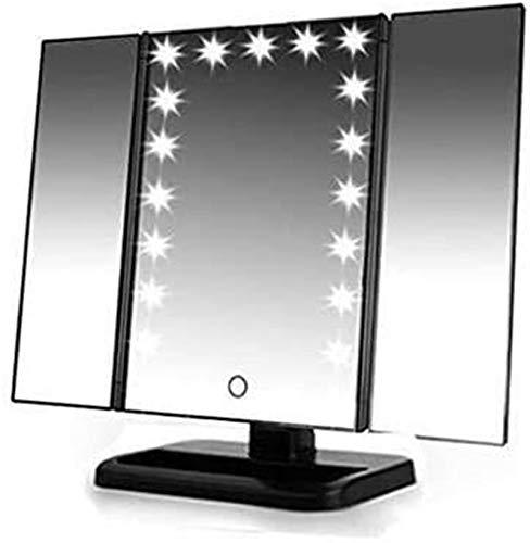 HCMNME Espejos de Lavado de Platos de baño, composición iluminada, tocador Trifold con 22 Luces LED y 2X / 3X / 1x Ampliación de Mesa de ampliación