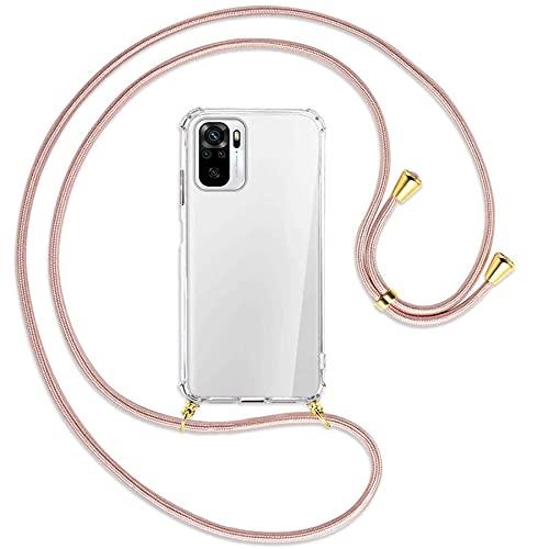mtb more energy Collana Smartphone per Xiaomi Redmi Note 10 4G, Note 10S (6.43'') - Oro Rosa/Oro - Custodia indossabile per Collo - Cover a Tracolla con cordina