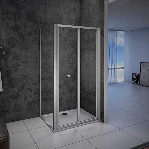 Mampara de ducha cuadrada,frontal 2 hojas plegables + panel fijo lateral Cristal...