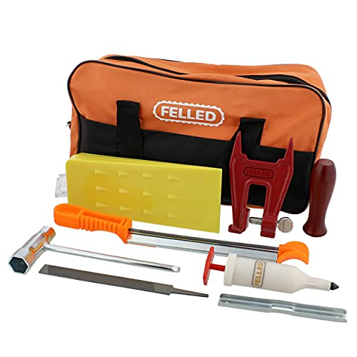 Felled Chainsaw Sharpening Kit with 5/32, 3/16, 7/32in Chainsaw File Set, Guide, Gauge, Wedge, Filing Vise, and Greaser