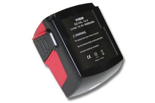 vhbw Li-Ion Batteria 4000mAh (14.4V) per apparecchi Hilti SFL Flashlight, SID 144-A CPC Impact Driver come Hilti B144, B-144.