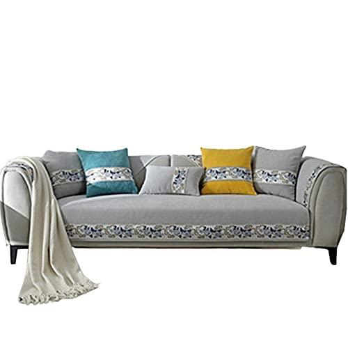 AMYZ Fundas de sofá clásicas Chinas para Sala de Estar,1,2,3,4 plazas Love Seat,sillón reclinable de Cuero en Forma de L,apoyabrazos,Respaldo,Gris Claro,7070cm