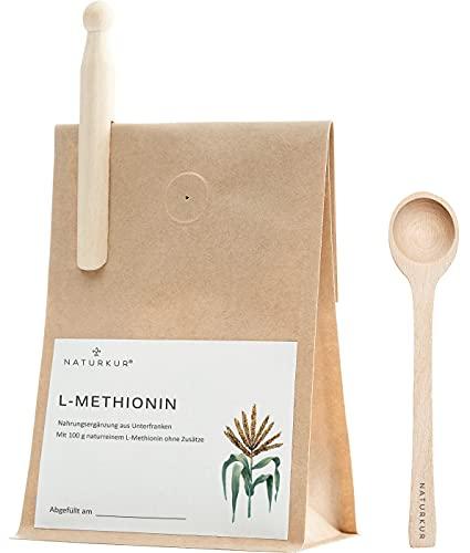 Naturkur® L-Methionin - 100 g im lebensmittelechtem Beutel mit Aromaschutzventil - Laborgeprüft, rein pflanzliche Fermentation, ohne Zusatzstoffe und sorgfältig hergestellt in Unterfranken