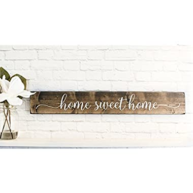 Dark Walnut Home Sweet Home Wood Sign Sayings - Inspirational Wood Rustic Wall Decor