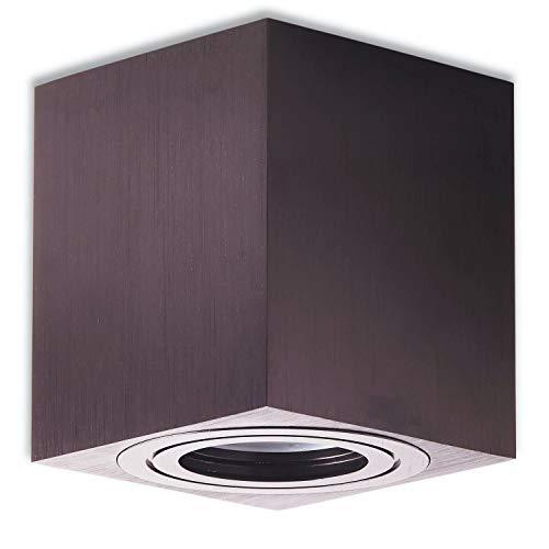 Trano LED Aufbauleuchte Aufbaustrahler GU10 230V schwarz 9 Watt kaltweiß – Aufbau-spot IP44 für Bad/Außen als Deckenleuchte und Deckenstrahler – mit Leuchtmittel Strahler Aufbau-lampe