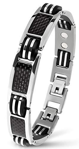 Lunavit Bracelet Bijoux magnétique en Titane avec Carbone pour Les Hommes, Bracelet Sport Argent, Longueur réglable
