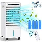 Enfriador de Aire Grande,Aire Acondicionado,Climatizador Evaporativo 5 en 1 Enfría| Ventilador| Humidifica| Ion Negativo| Purificador, 3 Modos,1-7 H Temporizadores,con Ruedas y Control remoto,5L