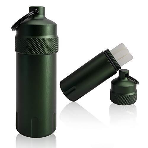 [TEMLUM] 携帯灰皿 ステンレス におわない 吸殻入れ おしゃれ 防水 キーホルダー 携帯便利 キーリング・カラビナ付き (グリーン01)