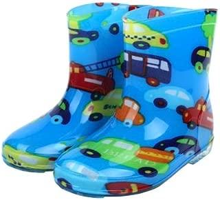Generic Children Shoes PVC Rubber Kids Baby Cartoon Rain Boots Waterproof Water Shoes, Size:26(Blue Car)