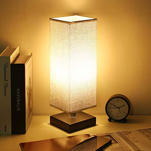 Bedside Table Desk Lamp, Kakanuo Minimalist Square Black Base Nightstand Lamp with Fabric Shade, Perfect for Bedroom/Nightstand/Guest Room/Living Room/Office