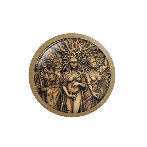 asd SIAN - Collar vintage con colgante de amuleto mágico con diseño de árbol de la vida de Wicca Pentagrama Magic Amulet con colgante de caja de hielo, pegatina de pizarra