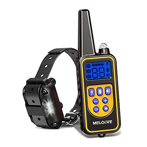 Meloive Collar adiestramiento para Perros,Collar antiladridos,Recargable y Resistencia al Agua de IP67 con un Alcance de 800m con 99 Niveles de Modo de Vibración, Advertencia de Sonido, Luz.