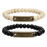MILAKOO 2 Pieces Inspirational Friendship Bracelets - Best Friends Forever Bracelets