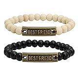 MILAKOO 2 Pieces Wood Beaded Bracelet for Women Best Friend Bracelets Set