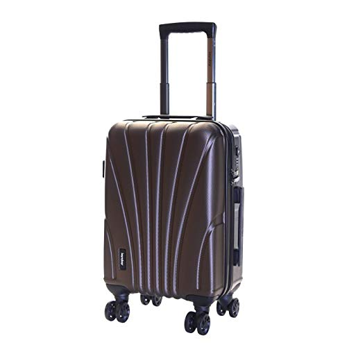 Karabar Hard Shell Cabin Carry-on Hand Luggage Suitcase Bag 55 cm 2.5 kg 35 litres 4 Spinner Wheels TSA Number Lock, Seashell Brown