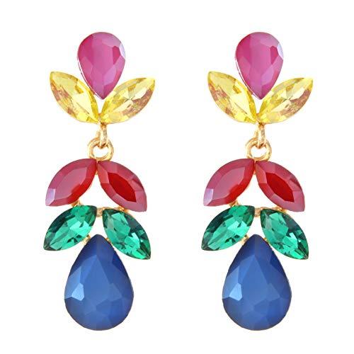 Pendientes para mujer largos Antialérgicos Floral, Fiesta, Moda, Chapados en Oro con cristales de colores brillantes