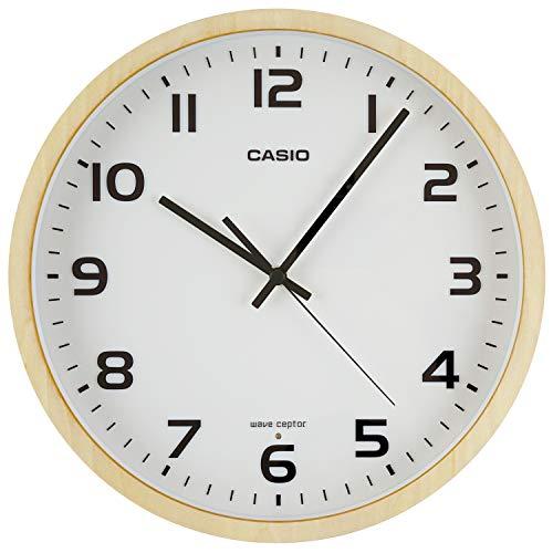 CASIO(カシオ) 掛け時計 電波 ナチュラル 直径30.2cm アナログ 木枠 夜間秒針停止 IQ-1110J-7JF