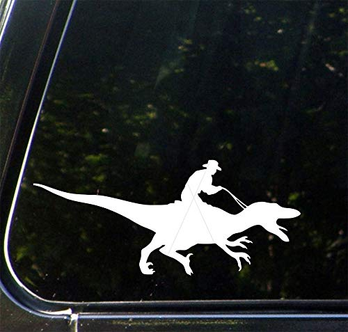 H421ld Calcomanía de vinilo para coche, Raptor Rodeo, Cowboy Riding Dinosaur, Velociraptor