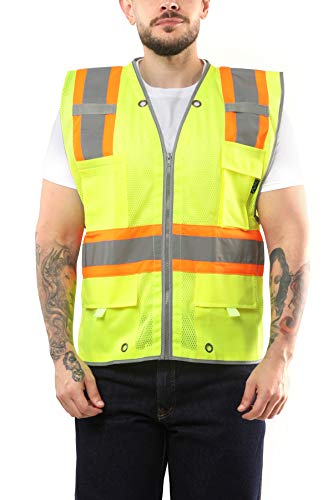 Kolossus Pro Deluxe High Visibility Safety Vest with Multi Frontal Pockets   ANSI Class 2 Compliant