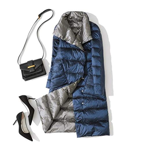 DPKDBN Parker, Femmes Double Side Wear Down Veste Canard Blanc Duvet Manteaux Femme Mode Casual Longs Bas Manteaux Outwears, LAN Jia Hui, M