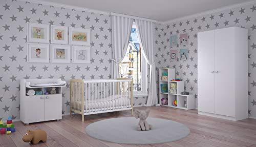 Polini Kinderzimmer Prime mit Gitterbett Kommode Regal Kleiderschrank,02632