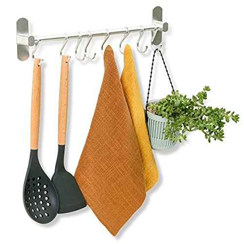 Barra para Utensilios de Cocina con 8 Ganchos - Adhesiva - Instalación sin Taladro - 40 cm