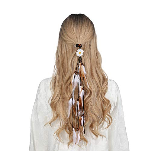 Sunflower Feather Extension Hair Ties - AWAYTR Women Feather Headband Festival Headwear Feather Hair Rope Crown Headdress (Light coffee)