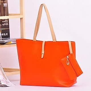 BEESCLOVER 1pc Ladies Shoulder Tote Handbag Large Capacity Ladies Shoulder Tote Handbag Leather Shopping Travel Bag Storage Orange Orange One Size