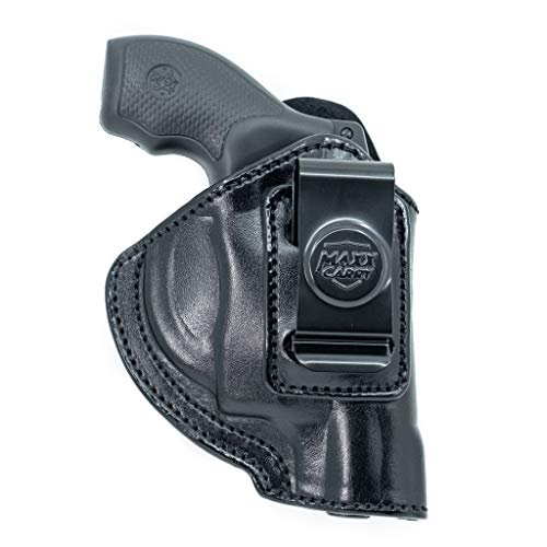 Maxx Carry IWB Leather Revolver Holster for Ruger LCR, LCRx, SP101 | S&W Bodyguard 38 Special, M&P 340 | Taurus 85, 605, 856 and Other Snub Nose Revolvers, Black, Right Hand Draw