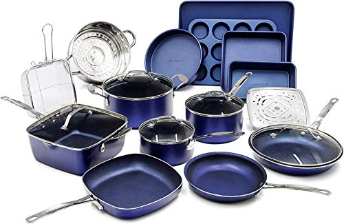 Granite Stone Pots and Pans Set, 20 Piece Complete Cookware + Bakeware Set with Ultra Nonstick 100% PFOA Free Coating–Includes Frying Pans,...