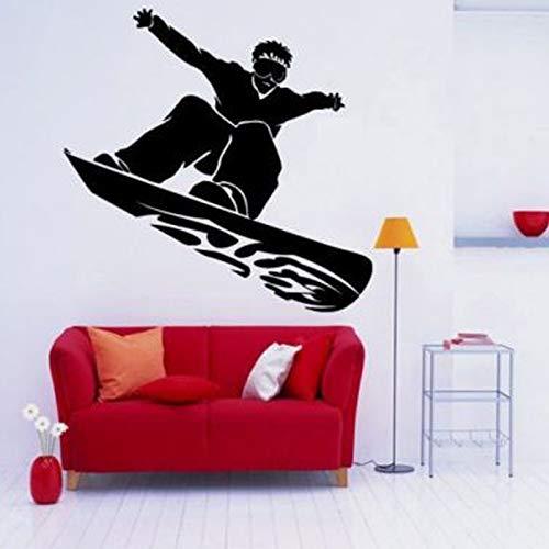 Snowboard Guy Dude Tattoo Wandaufkleber für Schlafzimmer Jungen Wohnkultur Wandtattoos Sportzimmer Tapete Vinyl Aufkleber 59x57CM