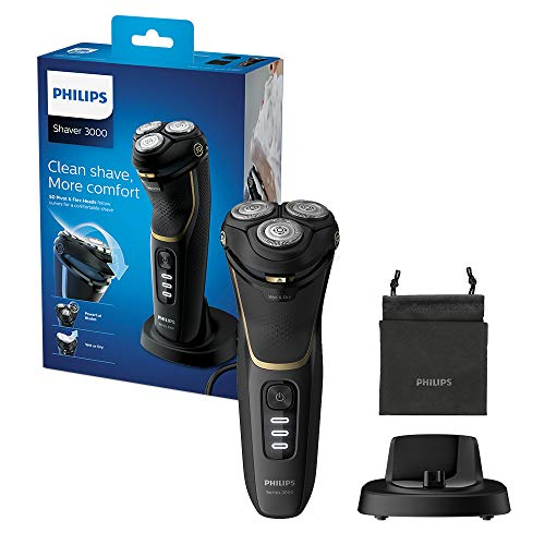 Philips New Series 3000 Wet or Dry Men's Electric Shaver with a 5D Pivot & Flex Heads, Noir Gold - S3333/54