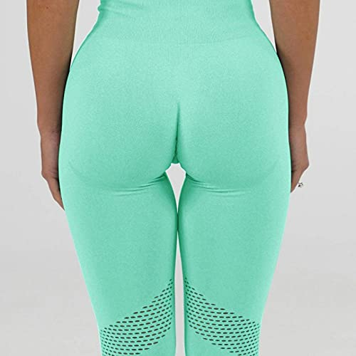 ArcherWlh Yoga Pants,Pantalones de Yoga para Mujer Traje de otoño No Cerrar Cerrar Set adelgazante-Yj019 Verde_L