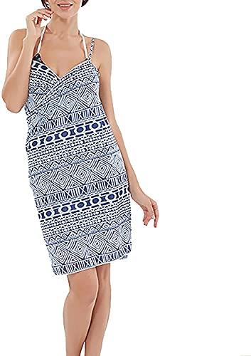 LSDRALOBOOE Poncho De Surf Poncho De Toalla Bikini Cover Up Dress para Mujer Spaghetti Strap Beach Dress Wrap Cover Up para Vacaciones de Verano Junto al mar 709(Color:Blue;Size:One Size)