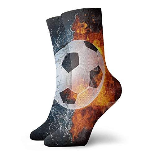 Paedto Calcetines de compresión antideslizantes con balón de fútbol en el fuego y el agua, calcetines deportivos acogedores de 11,8 pulgadas para hombres, mujeres y niños