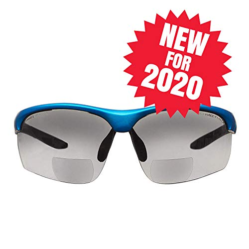 voltX 'Constructor Ultimate' Bifokale Schutzbrille mit Lesehilfe (Blauer Rahmen, rauchglasfarbene Gläser +2,5 Dioptrien) CE EN166FT-zertifiziert – Bifokale Rad-/Sportbrille Premium – UV400 Linse