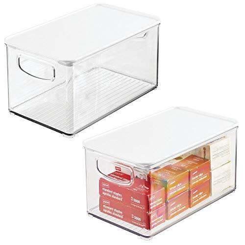 mDesign Set da 2 box in plastica per ufficio o casa – Pratico contenitore porta oggetti con coperchio per cancelleria – Portaoggetti trasparente in robusta plastica – trasparente/bianco