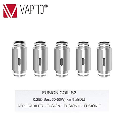 VAPTIO 5x Kanthal Coils 0.25 ohm (Verdampferköpfe Bio-Baumwolle) für FUSION E-zigarette Box Mod (ohne Nikotin, ohne Tabak)