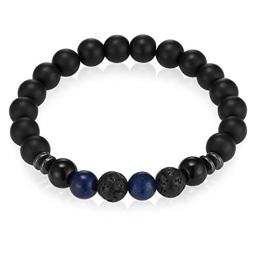 Gemdor Damen - Herren-Armband Onyx schwarz Lapislazuli blau 16-21 cm - Perlen-Armbänder Edelstein-Schmuck Chakra-Armreif