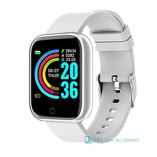 XYQC Reloj Inteligente a Prueba de Agua 5ATM para Mujeres-Hombres, Reloj de Fitness con rastreadores, podómetro, Contador de Pasos, Reloj Inteligente para iOS Android,Blanco