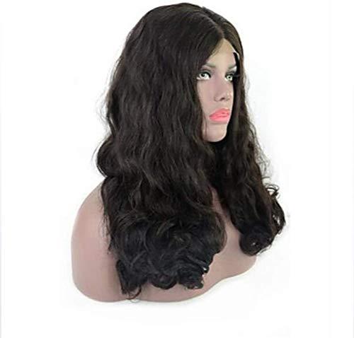 Glueless Lace Front Wig, Perruque Brésilienne De Style Partie Libre Perruque Noire Ondulée Perruque De Cheveux Longs Pour Femmes De Densité 150%,24 in