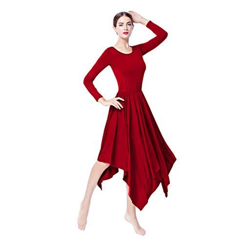 OBEEII Mujer Vestido Litúrgico Manga Larga Vestido de Ballet Clásico Gimnasia Danza Combinación Disfraces para Bautizo Ceremonia Baile Litúrgico Danza Casual 004 Rojo S